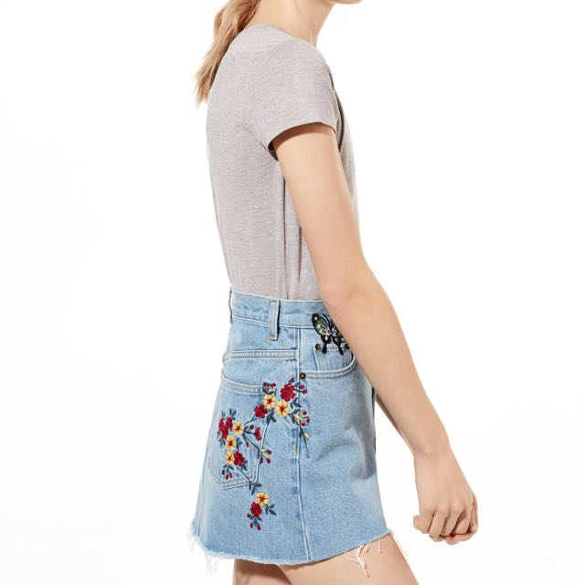 Wilfred testani embroidered jean skirt