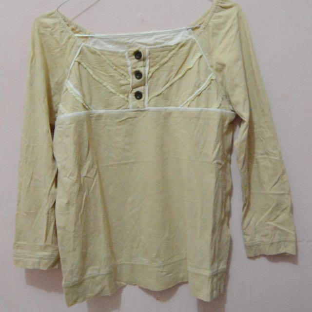 Yellow Semi Sabrina Neck Shirt