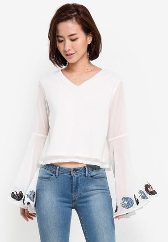 Zalora Embroided Sleeve Top