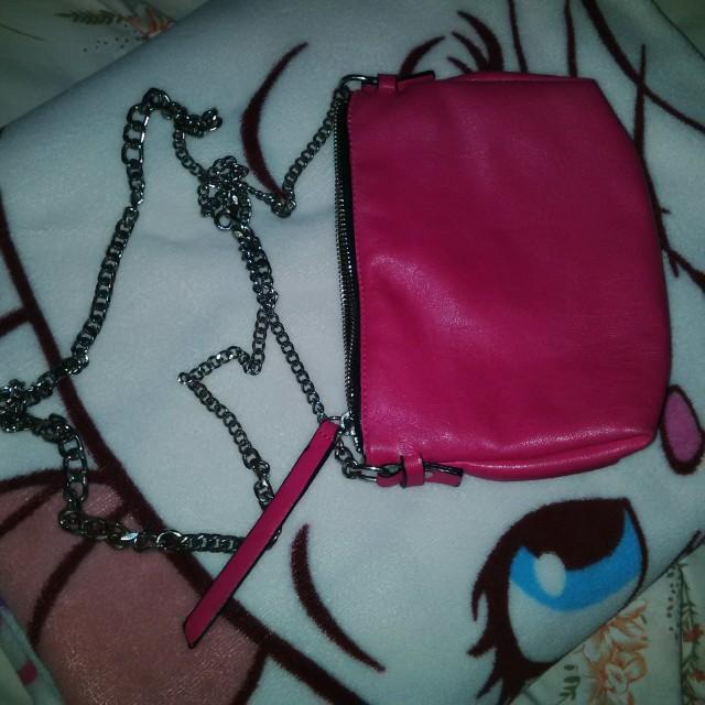 Zara chain pink sling bag