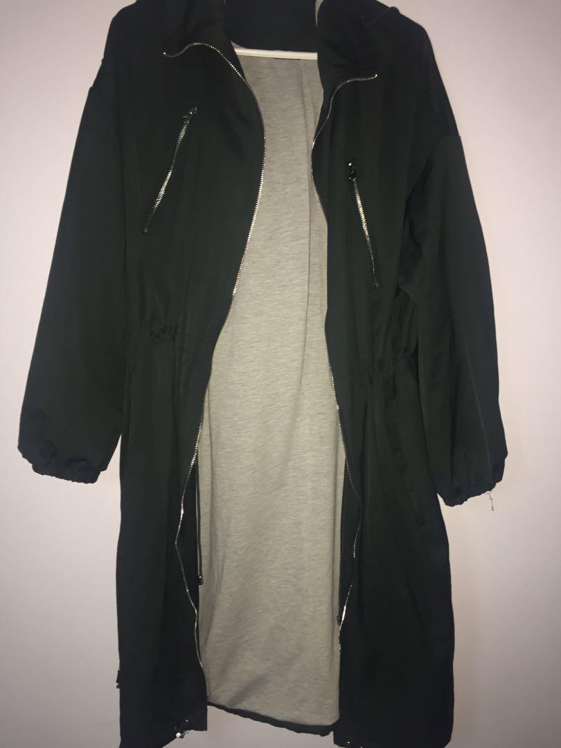 Zara long green jacket