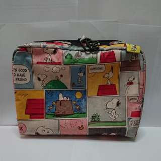 LeSportsac Extra Large Rectangular Cosmetic in Snoopy Patchwork