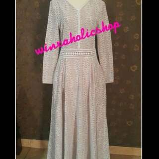 Dress brukat putih zalia size M
