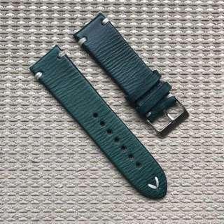 24mm Navy Blue Vintage Leather Strap