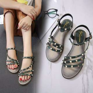 Studded edgy simple cool stud minimalist style monochrome mono coloured flat sandal shoe crossover criss cross lace suede leather