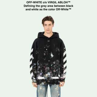Offwhite hypebeast diag galaxy brushed over hoodie