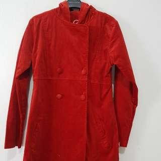 Blazer coat jaket jas winter musim dingin bahan cordoray merah bagus mewah