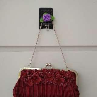 Hand bag / Tas Kondangan Pesta Maroon Elegant