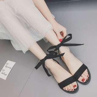 Korean sweet ribbon tie open sandals slipper shoe