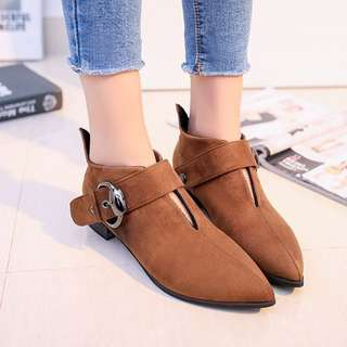 Ankle Boots Buckle Strap Suede Leather Booties