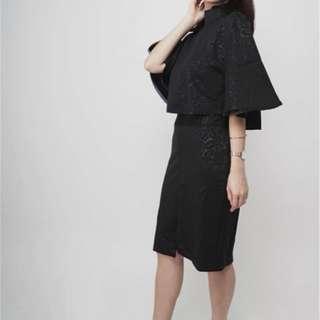 Black embossed rose dress