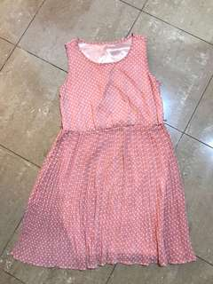 Soft pink polka dress with pleated skirt