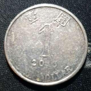 香港2013年壹圓(錯體)