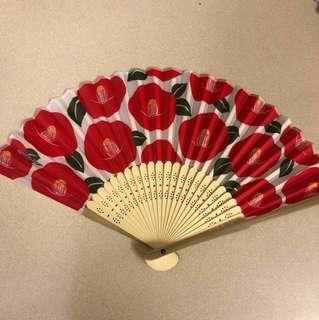 Japanese Flower Paper Folding Fan Glossy Camellia 日本花花紙扇
