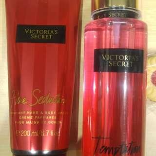 Victoria's Secret Pure Seduction Cream 200ml & Temptation Perfume 250ml