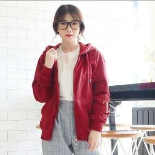 Jaket hoodie zipper merah maroon polos