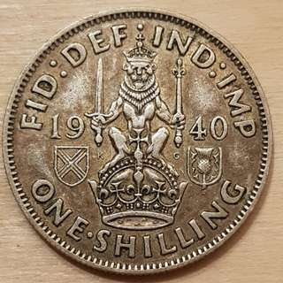 1940 Great Britain King George VI Shilling Silver Coin