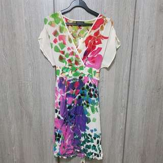 Warehouse flora abstract colorful flutter sleeve dress
