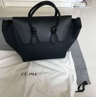 Céline large Phantom bag stamped crocodile blue