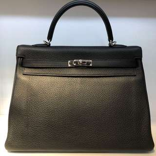 正品 95%新 Hermes Kelly 35 黑色銀扣手挽側揹袋 型格之選!