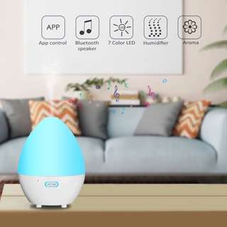 SMART Aroma Diffuser Humidifier 450ml with Bluetooth Speaker, 7 colour LED Light, Ultrasonic Cool Mist, Auto Shut-off, available APP for Home, Bed Room, Baby Room, Yoga, Office, Spa