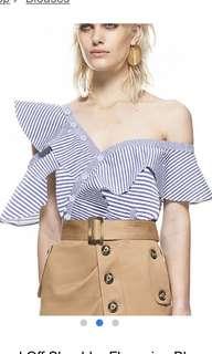 Striped Off Shoulder Flouncing Blouse