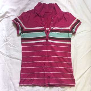 American Eagle Outfitters pink white green strip top polo shirt tee