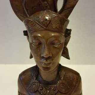 1960s Bali Teak-Wood Bust (Man)