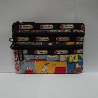 LeSportsac Peanuts 3-Zip Cosmetic in Snoopy Patchwork