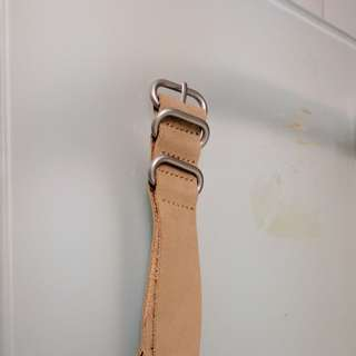 Strap Jam Tangan NATO / Zulu 20mm Light Brown / Coklat Muda Bahan Kulit Asli / Genuine Leather