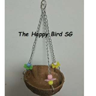 M2 168 - Parrot Bird Coconut Hanging Toy