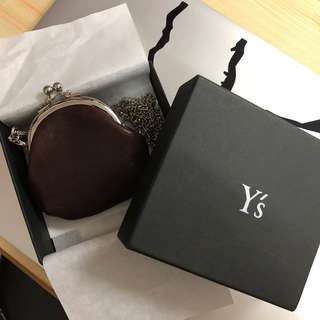 Y's Chain Coin Pouch in Brown