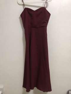 Maroon Silky Maxi Dress