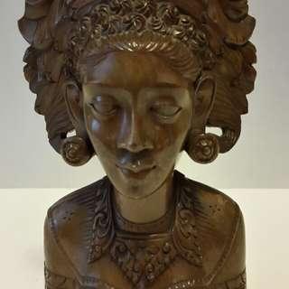 1960s Bali Teak-Wood Bust (Woman)