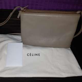 二手Celine羊皮杏色斜挎包25CM(大size)