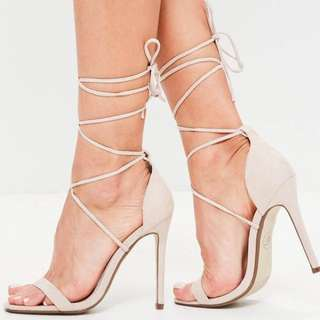 Missguided Nude Lace Up Heels