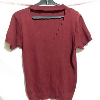 Maroon Fitted Top