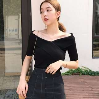 Cheryl Cross Off Shoulder Black TOP (Free Mailing)