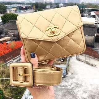 (SOLD)Chanel Vintage 罕有金色羊皮腰包