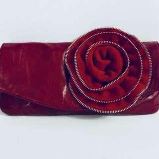 Vintage Red Leather Clutch, Large Rose, Red Carpet.