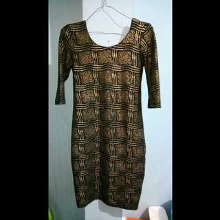 Dress Black Gold Preloved !!!