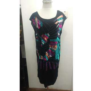 Sequined black dress maternity or not