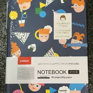 Miniso english doll notebook navy with pen