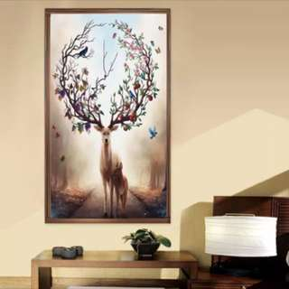 Beautiful Deer Crystal Diamond Painting With Gold Frame