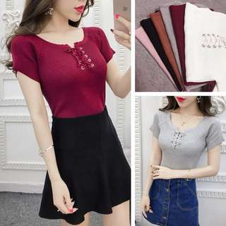 (Preorder) Ribbon tie knitted top