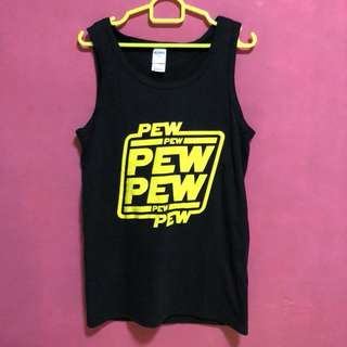 Starwars PEW PEW PEW Singlet/Tank Top in yellow/black