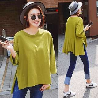 (M~XL) 2018 spring solid color T-shirt female nine sleeves