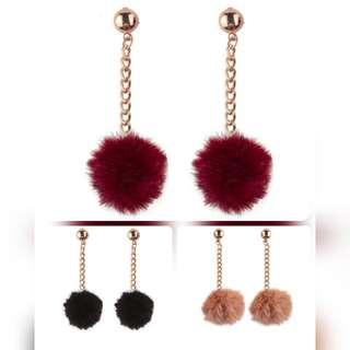 Fur Ball Long Dangle Earring