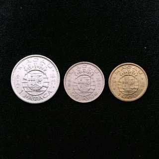 1968-1975 葡屬澳門錢幣壹圓,伍毫,壹毫各一個(有原光)