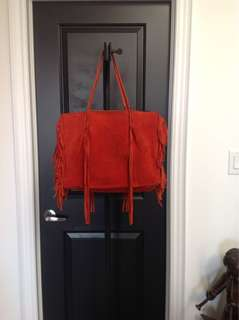 Red Suede Tote Bag with Fringes